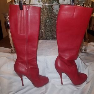 Red leather pointed-toe Botalili 120 Boots